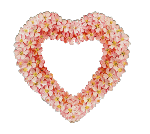 Pink floral heart victorian scrap